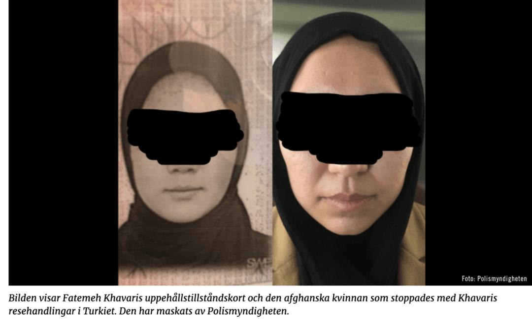 """""""Fatemeh Khavari säger att källans förklaring är felaktig och att hon inte har sålt eller lånat ut sina resehandlingar."""""""