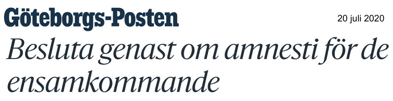 """Kommentarer till debattartikel om att """"riksdagsledamöter med medmänsklighet på sin agenda bör genast besluta om en amnesti för tusentals ensamkommande ungdomar i Sverige."""""""