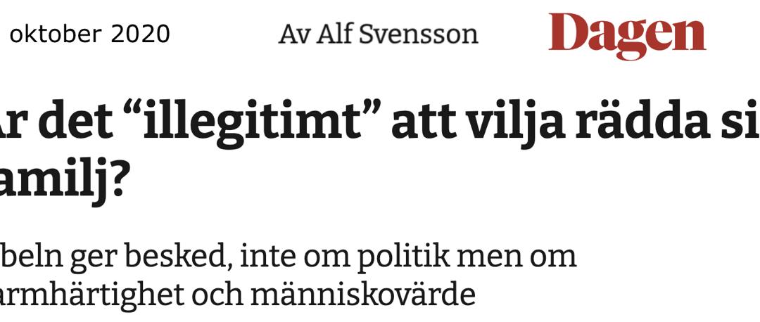 """Att """"migrationsdebatten, som den låter för närvarande, drar ner respekten för människovärdet"""", som Alf Svensson skriver, är svårt att hålla med om"""