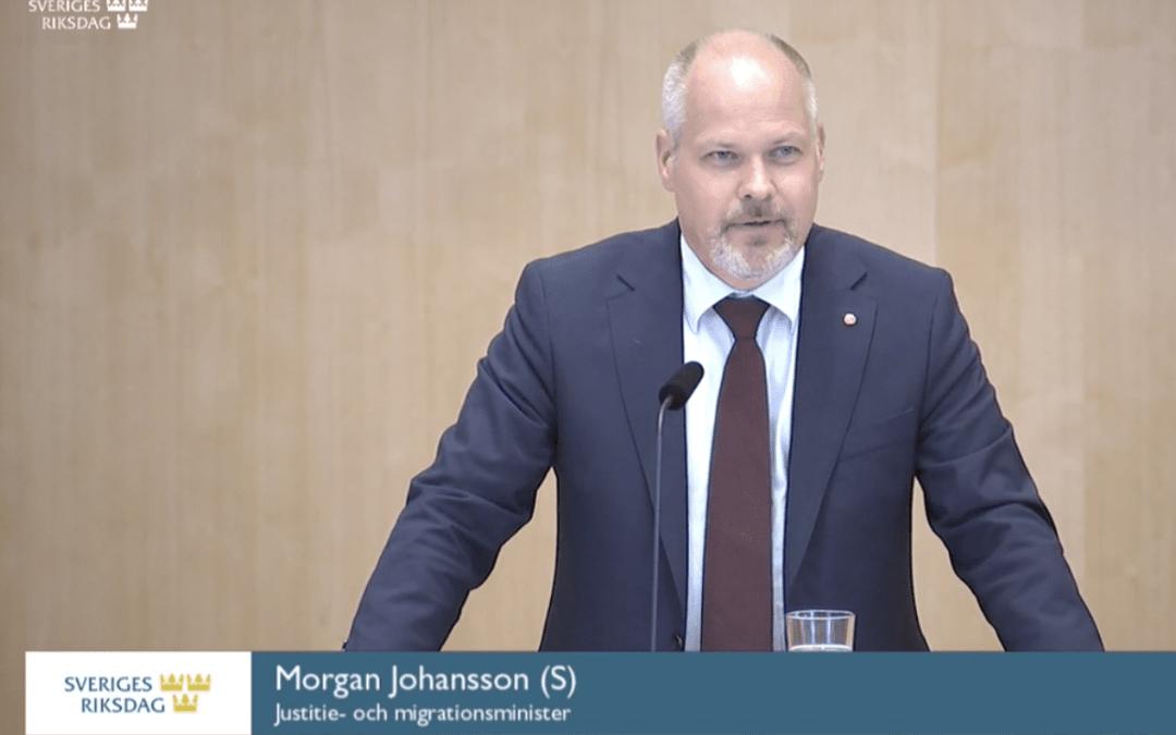 """Justitie- och migrationsminister Morgan Johansson: """"Sedan kriget i Syrien har Sverige gett skydd åt 180.000 och det är jag stolt över."""""""