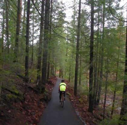 The new paved singletrack around the south side of Sugarpine Reservoir.