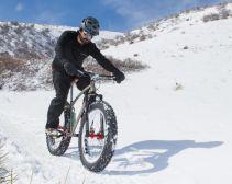 Dan riding his first snow
