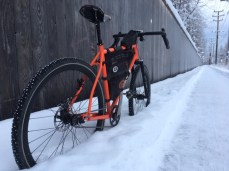 Zach's singlespeed dirtdrop 29er with some studs on for Anchorage winter commutes