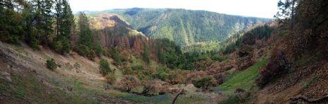 Devils Thumb Panorama. Fire damage visible.