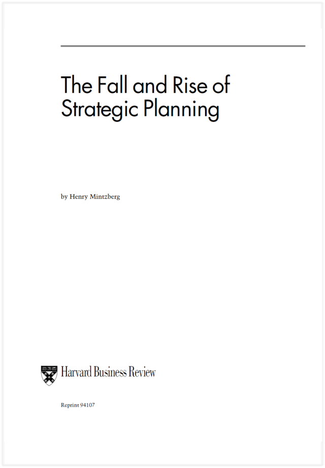 The Fall and Rise of Strategic Planning Grid