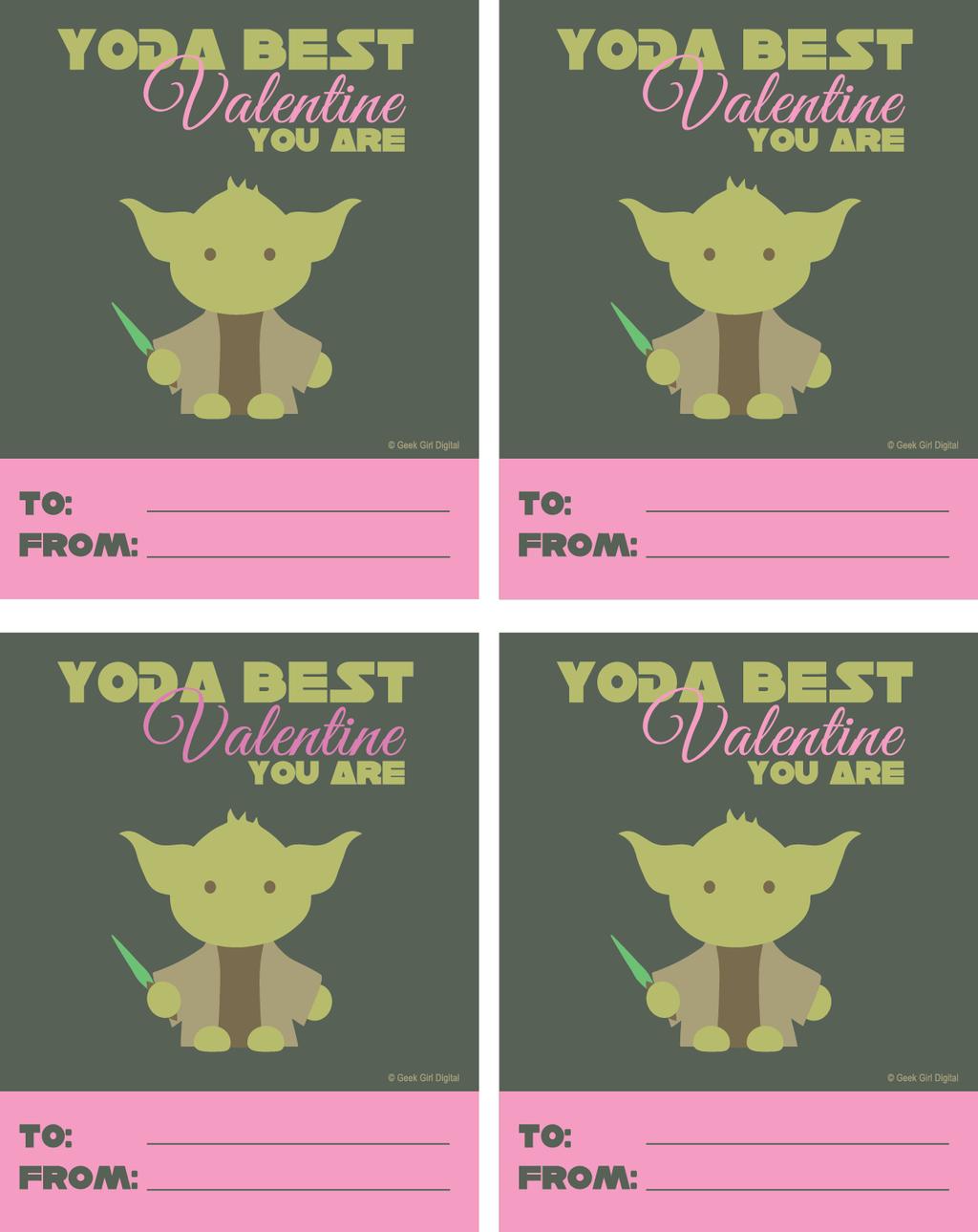 Free Yoda Valentine Printable For Girls