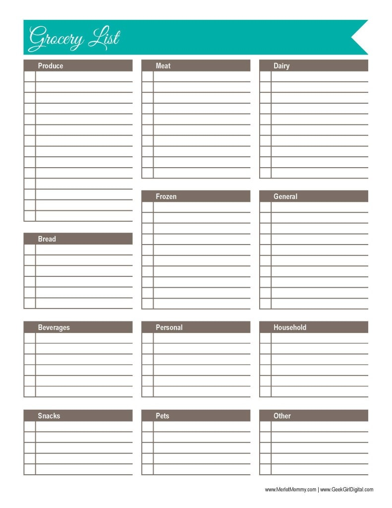 30 Days of Free Printables: Grocery List | Merlot Mommy