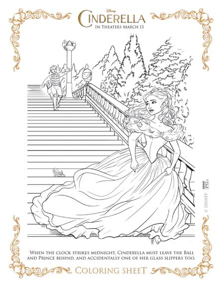 Detailed Hard to Color Cinderella Coloring Pages for Adults Stress ... | 576x446