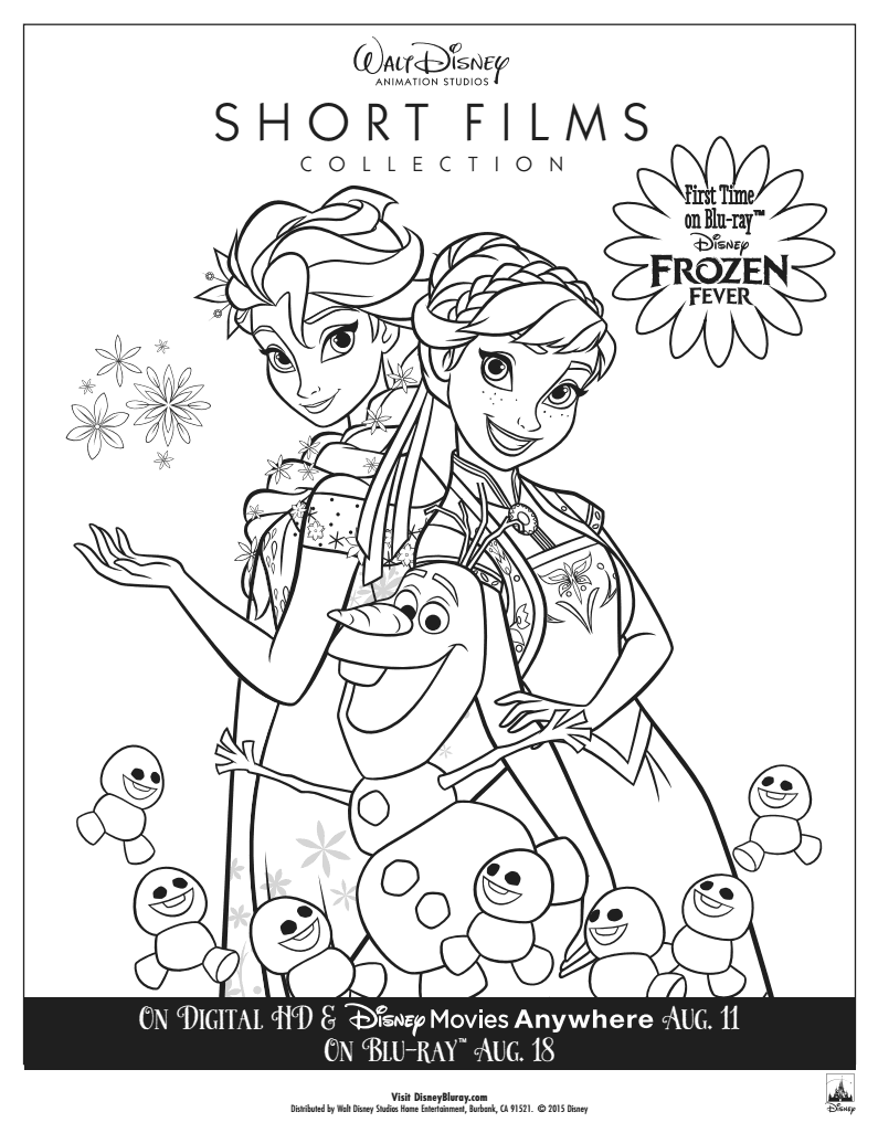 frozen coloring pages 2 disney book own the walt disney animation studios shorts collection today - Frozen Fever Coloring Pages