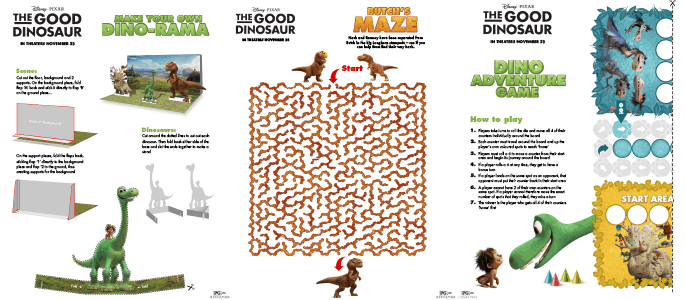 New Activity Sheets from Disney/Pixar's THE GOOD DINOSAUR #GoodDino