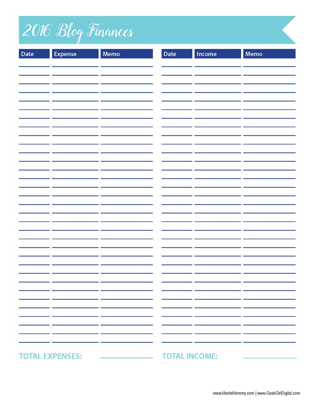 Blog Finances Worksheet 30 Days Of Free Printables