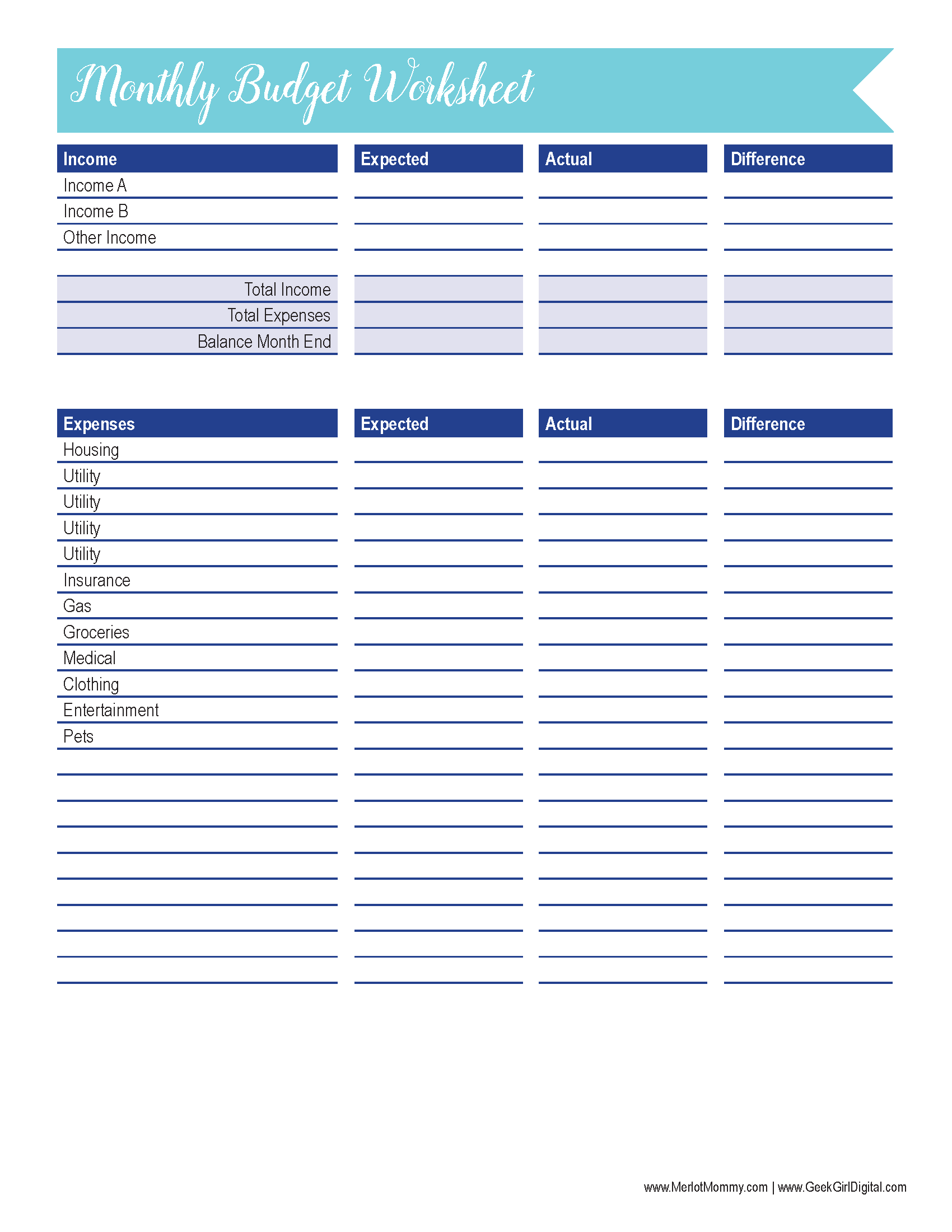 photo relating to Budget Printables Free known as Month to month Funds Worksheet: 30 Times of Free of charge Printables