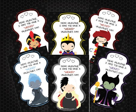 Disney Villains Wicked Cute Valentine's Day Printables