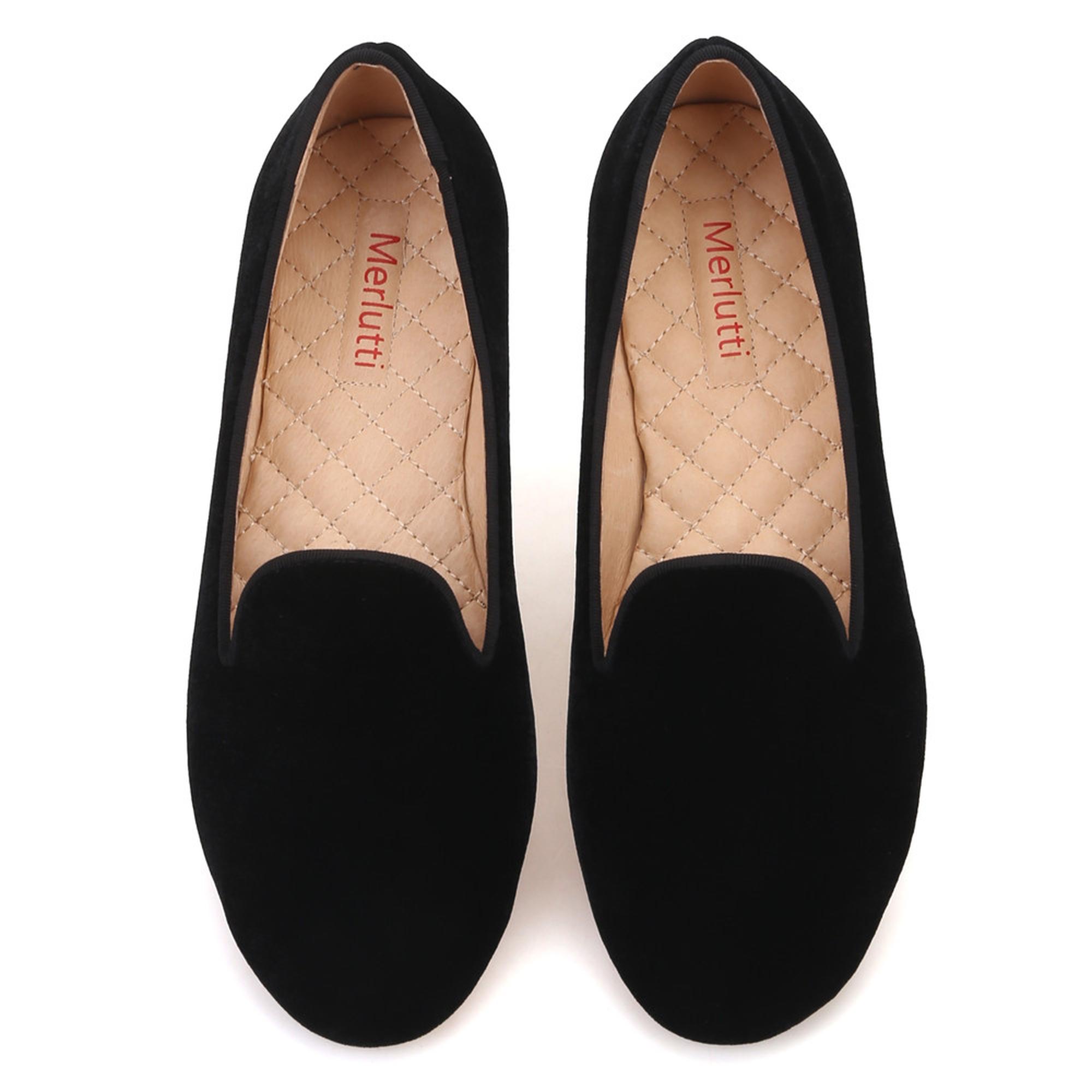 Women Plain Black Velvet Loafers - Merlutti