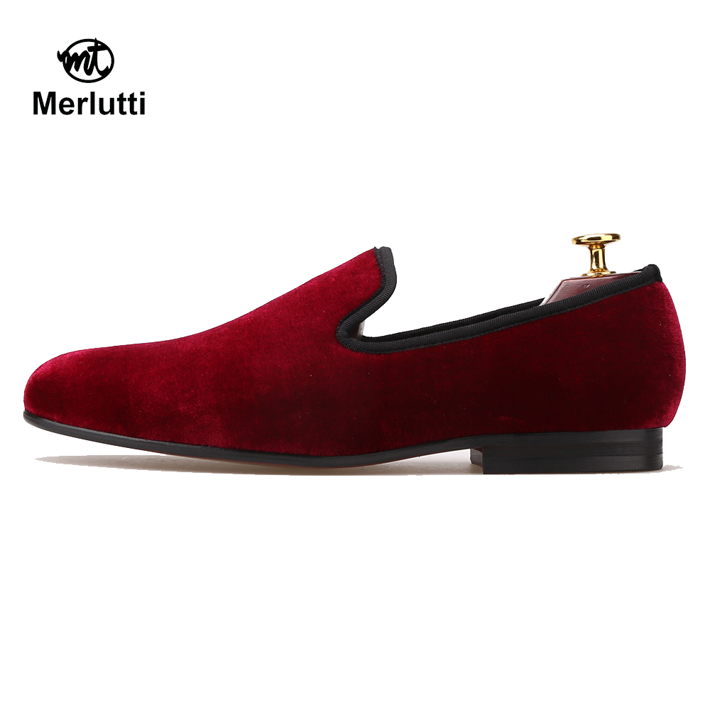 Plain Burgundy Velvet Loafers