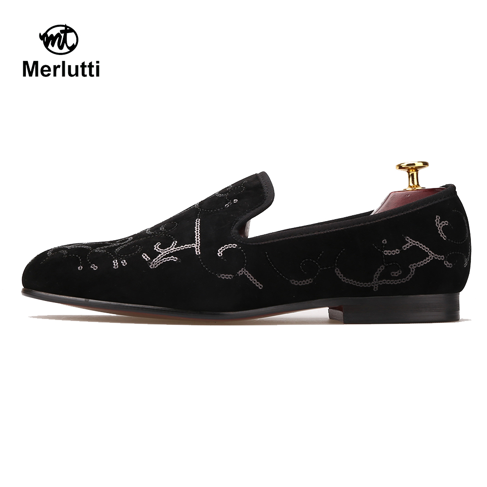 Velvet Black Sequin Loafers - Merlutti