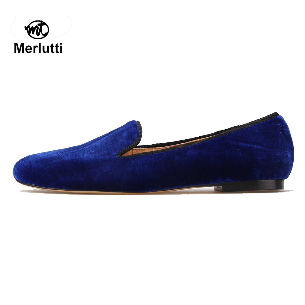 Women Plain Royal Blue Velvet Loafers