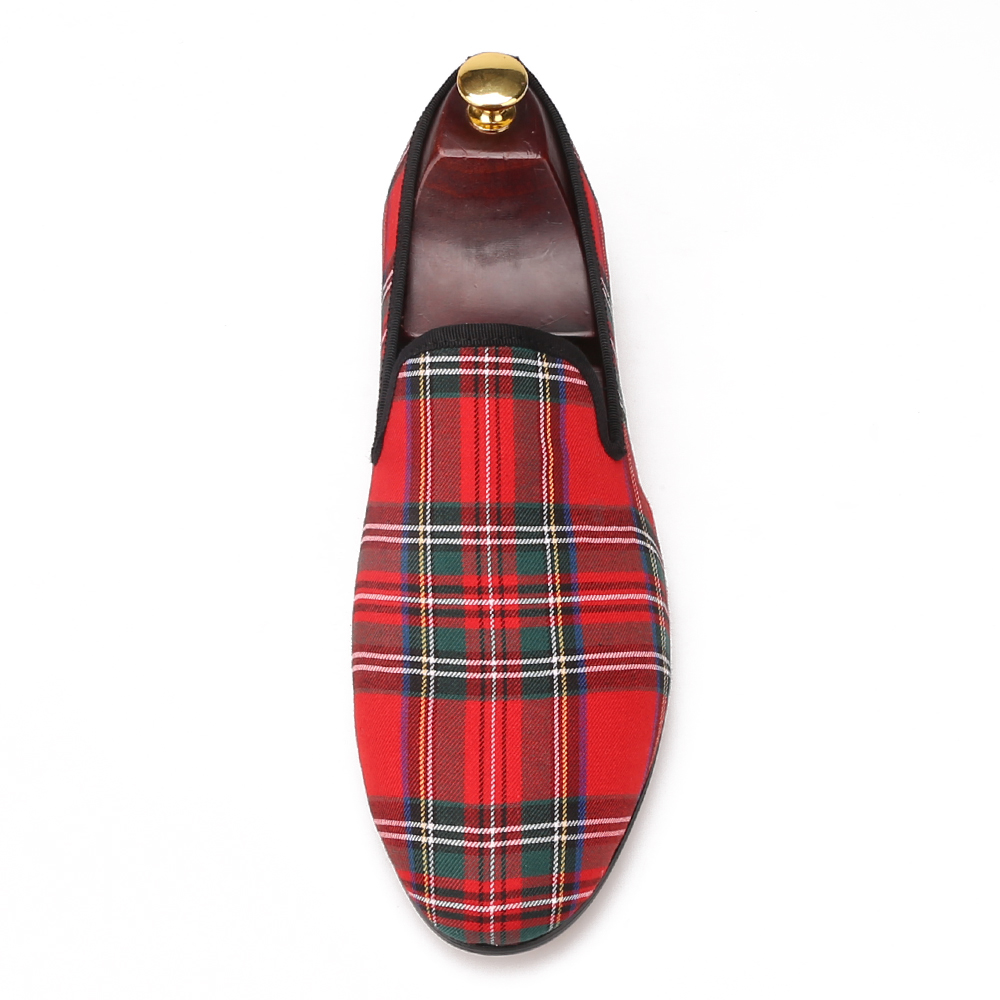 Plaid Red Fabric Loafers