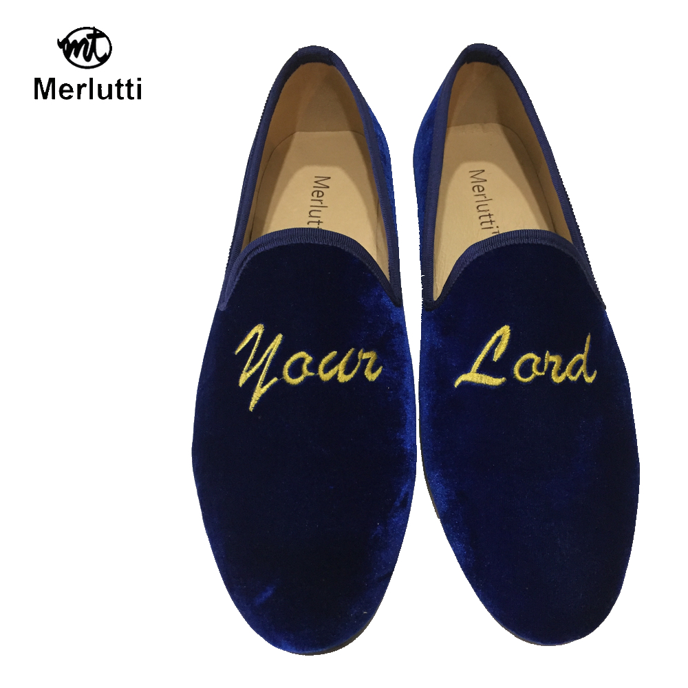 Blue Royal Velvet Embroidered Flat