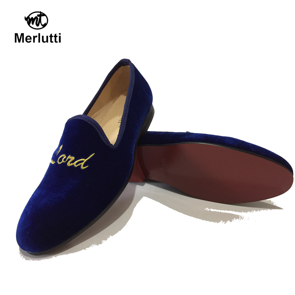 eaf99941eac Blue Royal Velvet Embroidered Flat - Merlutti