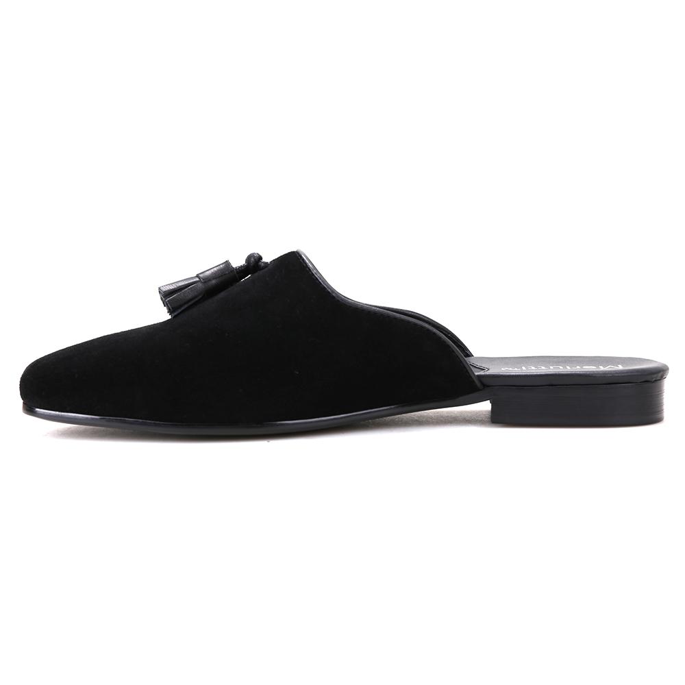 Black Noah Tassel Suede Sandals