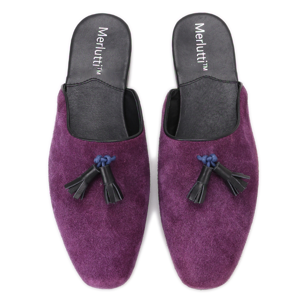 Purple Noah Tassel Suede Sandals
