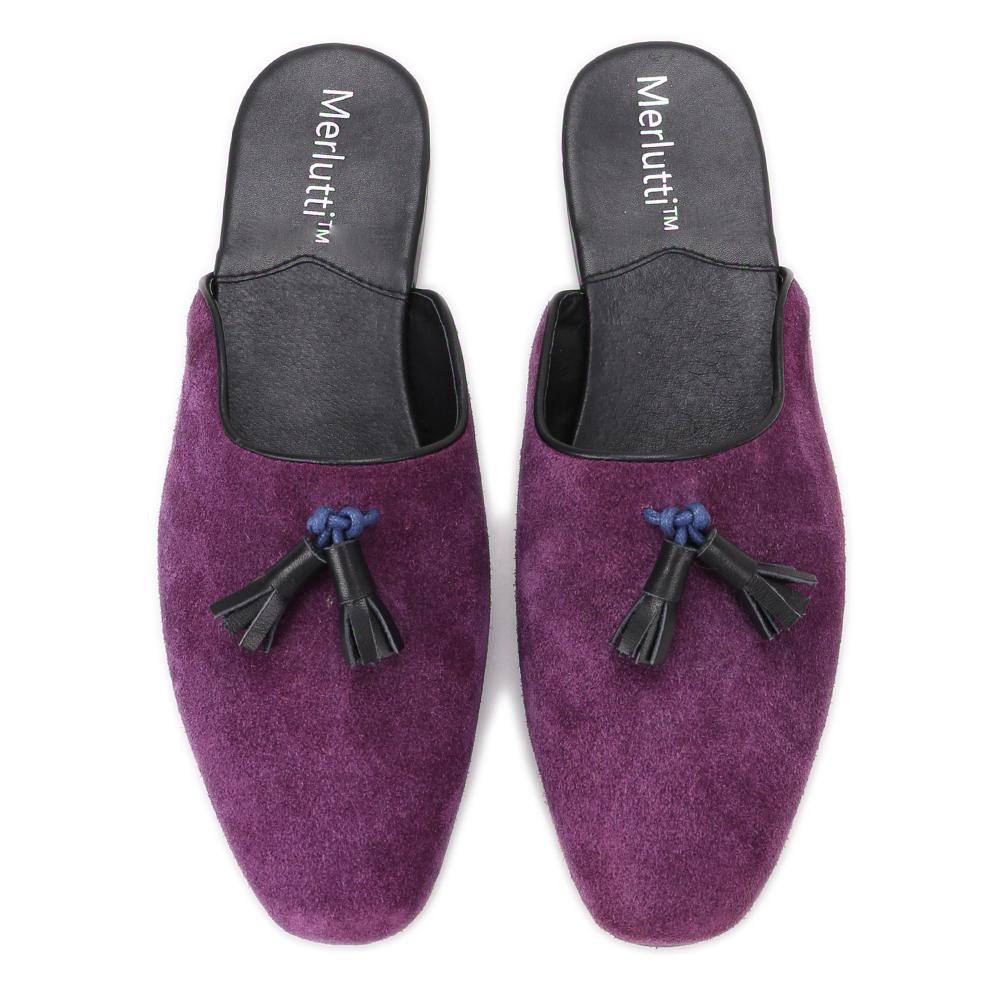 Purple Noah Tassel Suede Sandals