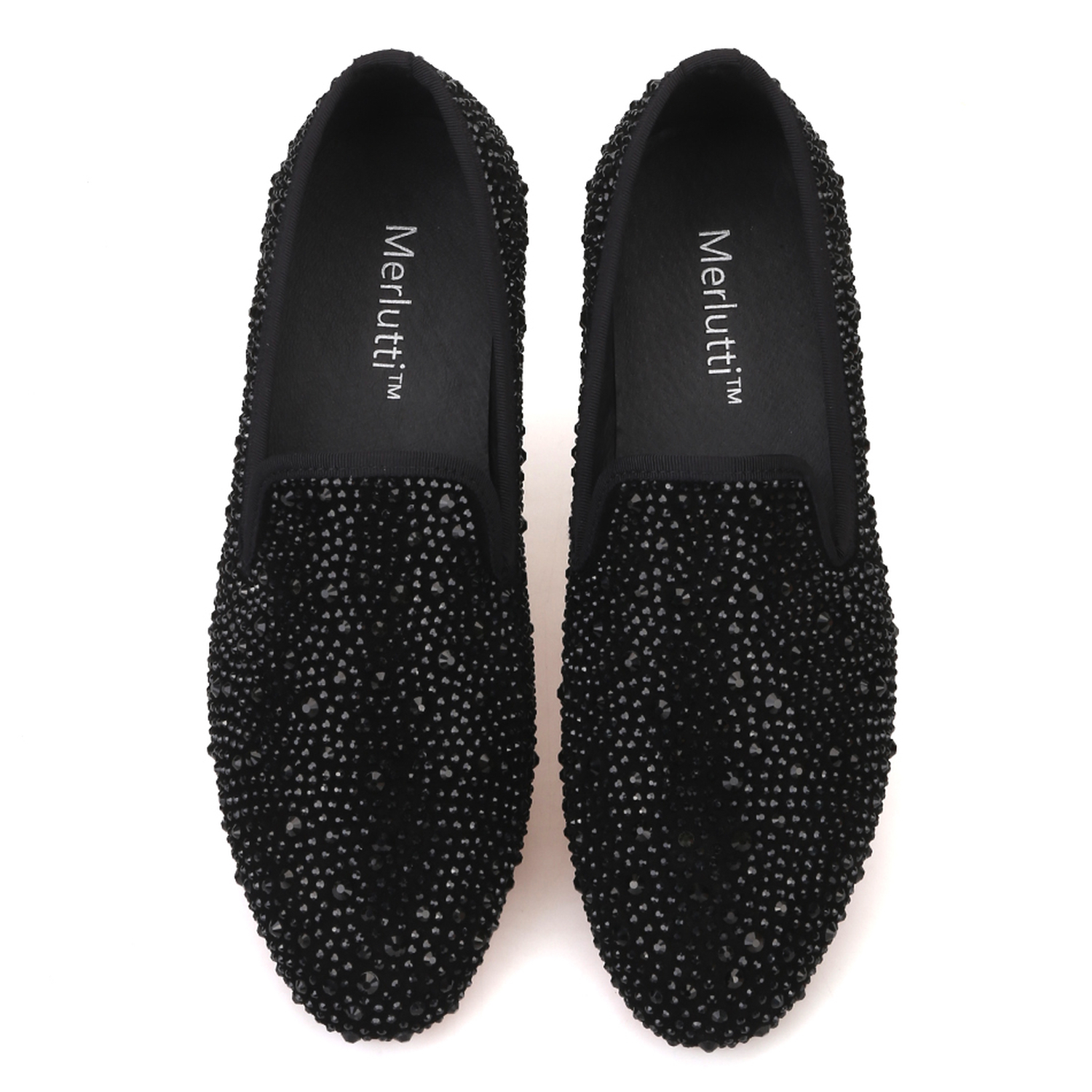 6d21988b6bf Black Crystals Suede Loafers - Merlutti