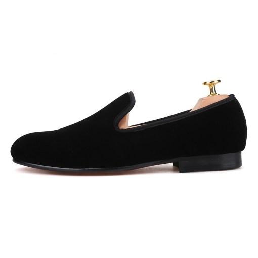 Plain Black Velvet Loafer