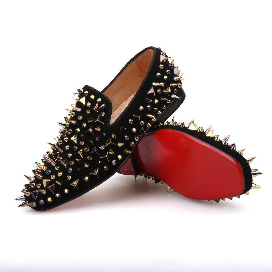 Black Gold Women Rhinestones Loafers