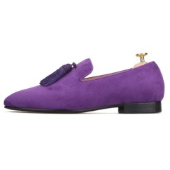 Big Tassel Suede Custom Purple Loafer