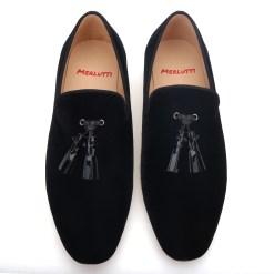 Black Velvet Leather Studded Tassel