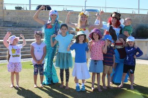 Mermaid Kat and the Eco Faeries at a beach clean up in Perth
