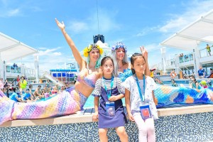 Professional mermaid Kat performs on cruise ship in Singapore