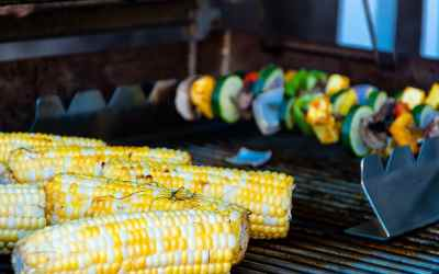 Grilled Ancho Chili Sweet White Corn on the Cob with honey butter