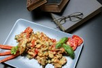 Scrambled eggs with Tomatoes and Roasted Peppers