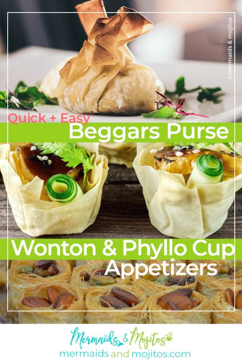 Beggars Purse, wonton, phyllo cup, Appetizer Bites