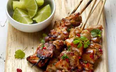 Spicy Blackberry Bourbon Grilled Chicken Skewers