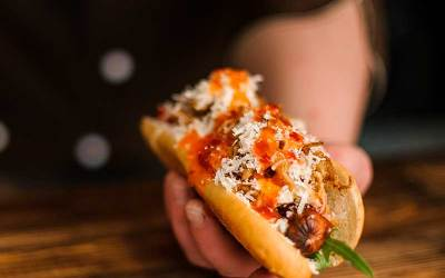 Buffalo Sauce Hot Dog with Blue Cheese