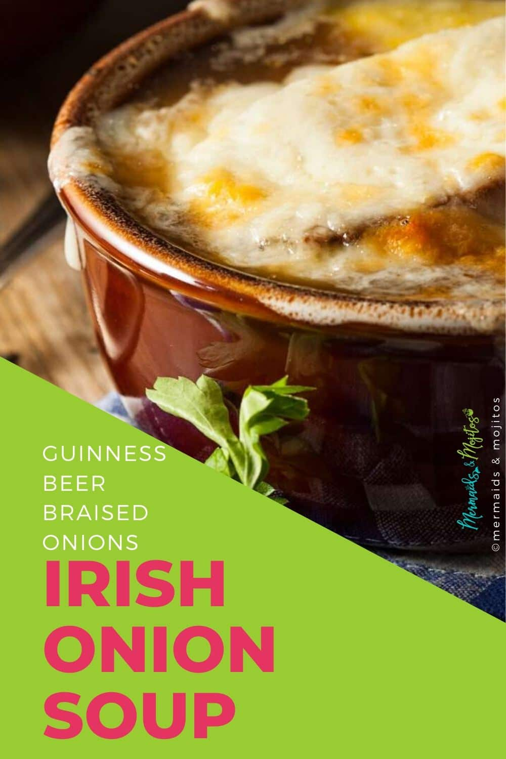 Irish Onion Soup is a riff on the classic French onion soup.  The onions are braised in Guinness Beer and add a rich caramelized flavor. via @mermaidsandmojitos