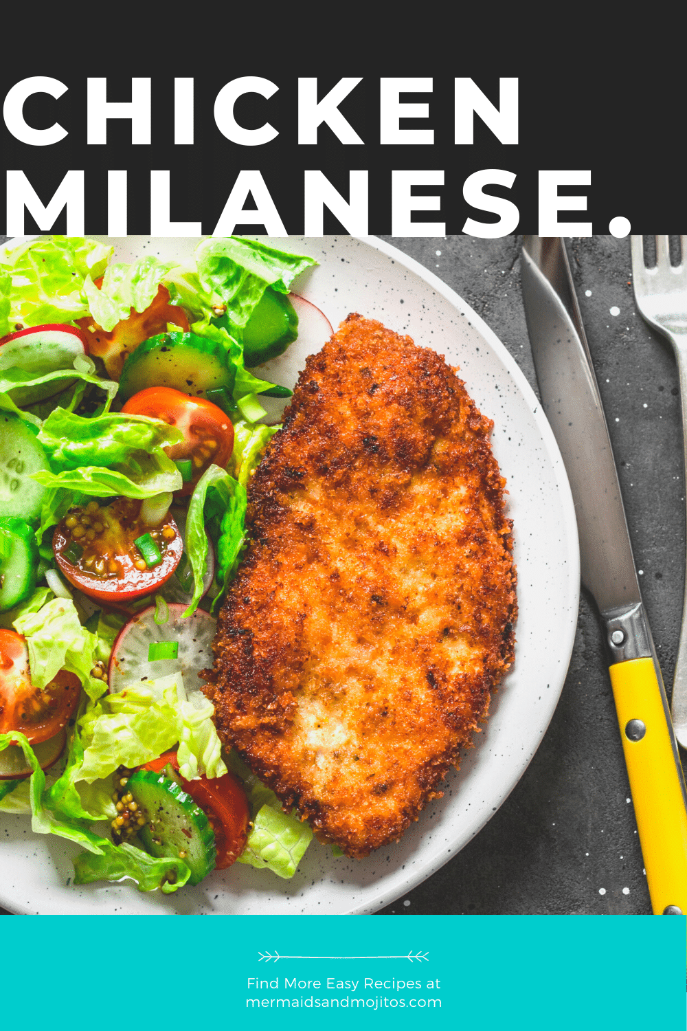 This simple Chicken Milanese is the perfect weeknight meal, ready in 30 minutes. This is an Italian classic, served with a squeeze of lemon and simple a salad. via @mermaidsandmojitos