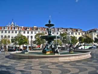 Mermaid Statues in the Rossio Square fountains, Lisbon.