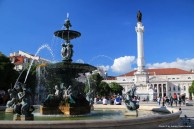 Mermaid culptures in the Rossio Square fountains, Lisbon.