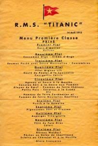 Menú de la cena del 14 de abril de 1912 abordo del Titanic.