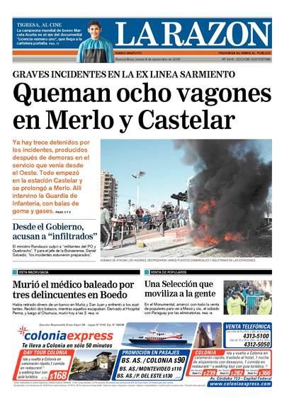 Portada de La Razón, Jueves 4 de septiembre de 2008