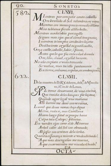 """""""Obras de D. Luis de Góngora. Tomo I / reconocidas i comunicadas con [...] por D. Antonio Chacón Ponce de León"""", folio 90."""
