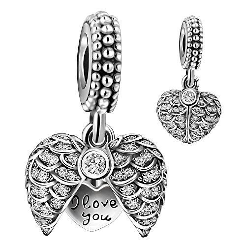 925 Sterling Silver Guardian Angel Wings Open Heart Dangle