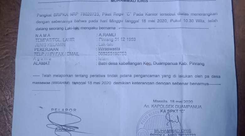 Oknum Desa Di Pinrang Dilapor Polisi, Diduga Parangi Wartawan.