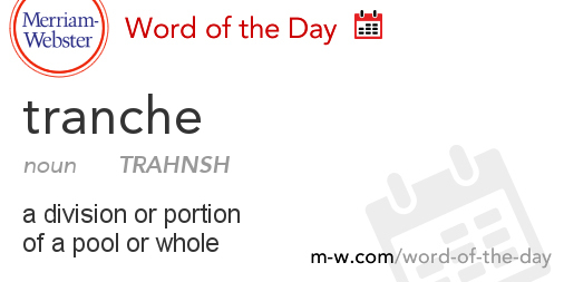 Word of the Day Tranche  MerriamWebster