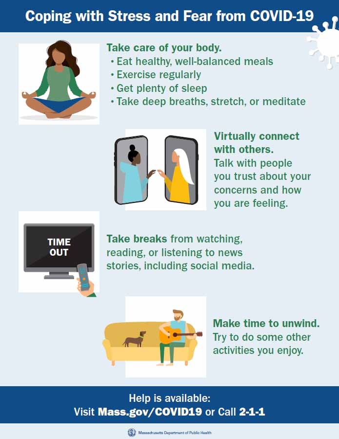 Infographic detailing ways to cope with stress and fear from COVID-19.